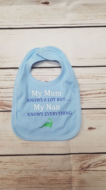 My Mum Knows a Lot Personalised Blue Baby Bib